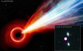 Гигантский джет со стороны черной дыры ранней Вселенной